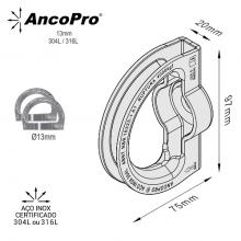Ancoragem AncoPro® Aço Inox 13mm 40kN NR18, NR35, ABNT 16325-1, ABNT 16325-2