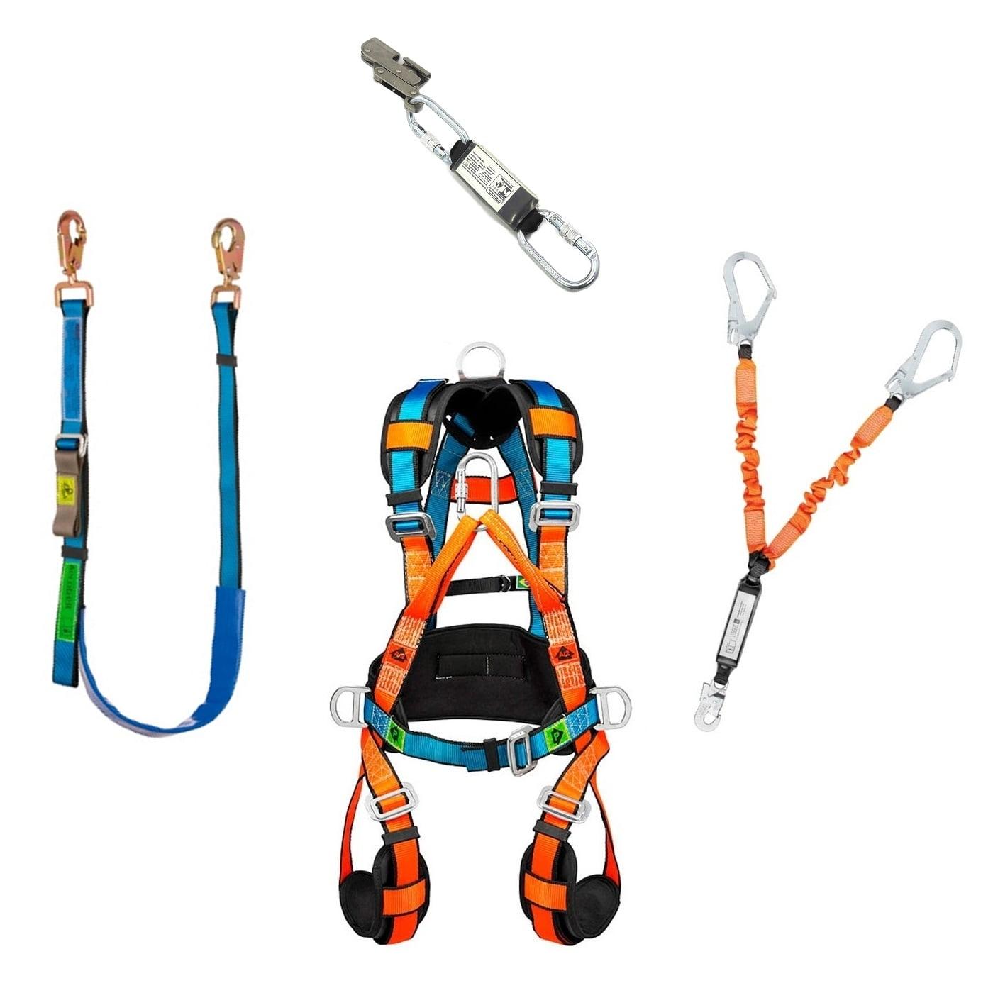 Kit Cinto Cinturão Paraquedista, Talabartes Posicionamento e Ancoragem e Trava Quedas Cabo de Aço